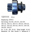 Бендикс стартера Audi, Citroen, Renault, VolksWagen 131111